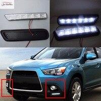 JanDeNing 2PCS White LED Daytime Running Lights Fog Lamp DRL for Mitsubishi ASX 2010 2012