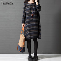 ZANZEA Vintage Striped Print Women O Neck Long Sleeve Casual Cotton Linen A Line Dress Vestido