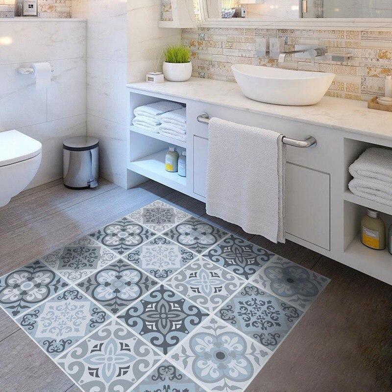 4PcsSet Mediterranean blue style PVC floor sticker Bedroom Study Room waterproof non-slip wear-resistant floor stickers