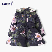 Little J Girls Hooded Flower Coat Kids Padded Fleece Jacket Baby Thick Warm Outerwear Children Winter