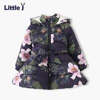 Little J Girls Hooded Flower Coat Kids Padded Fleece Jacket Baby Thick Warm Outerwear Children Winter