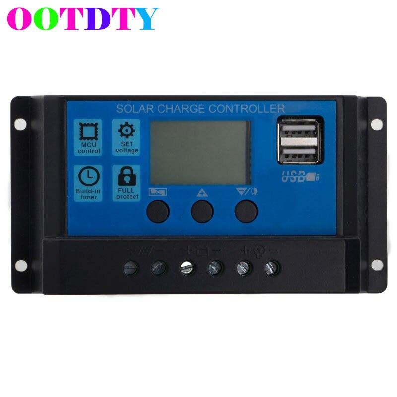 Dual USB Solar Panel Batterie Regler Laderegler 12/24 v LCD PWM 10/20/30A