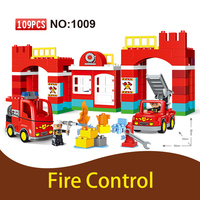GOROCK Big Building Blocks DIY Large Size Bricks Toys Christmas Gift Compatible Duploe Town 10593 Fire Station Building Kit