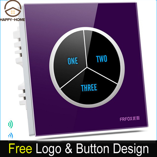 Luxury 3 gangs 2 way Purple Glass Screen Touch Light Wall Switch Free customize button 110V~250V touch wall switch,Free Shipping стоимость