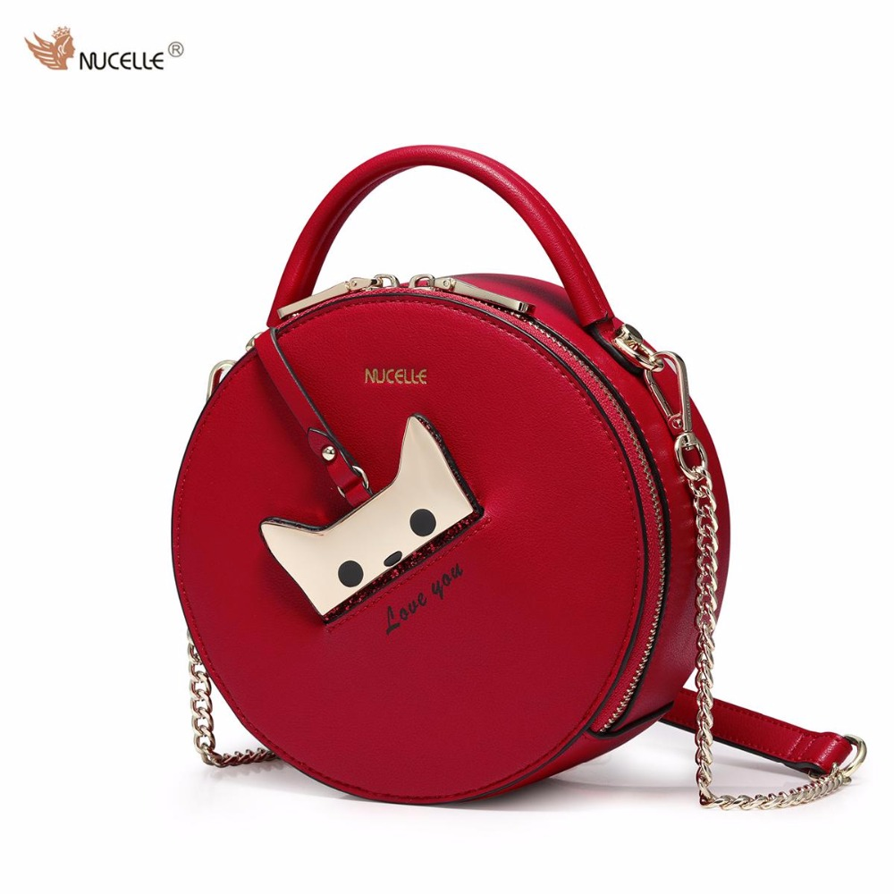 NUCELLE Brand New Design Fashion Cat PU Leather Mini Women Handbag Ladies Girls Chains Shoulder Bag Cross body Small Round Bags