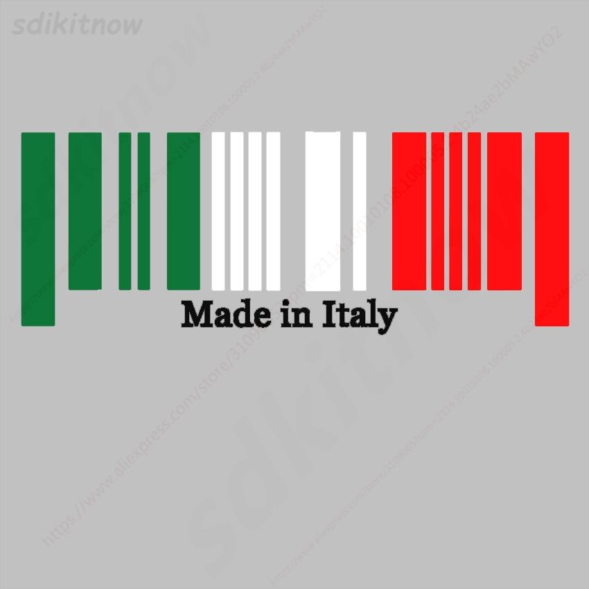 9x25cm Made in Italy Flag Bar Code Car funny Sticker PVC Decal Styling For Ferrari Abarth Lamborghini Maserati Alfa Romeo Pagani