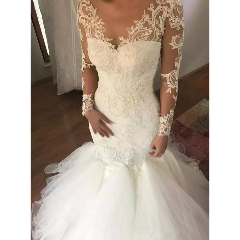 Sexy Sheer Back Mermaid Wedding Dress Formal Bride Bridal Gown Plus Size Sweep Train Long Sleeve