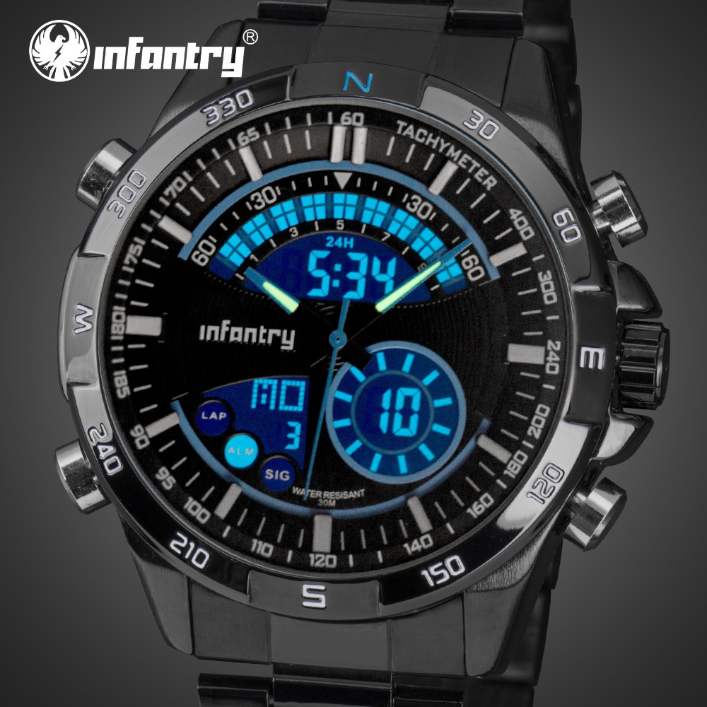 INFANTERIE Mannen Sport Horloges LED Display Rvs Aviator Horloges - Herenhorloges