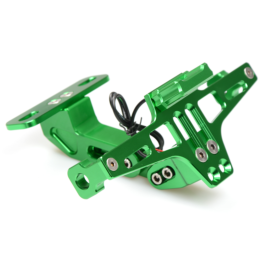Motorcycle Accessories CNC Rear License Plate Mount Holder with LED Light For Kawasaki Z ZR ZX 125 250 750 750R 750S 800 1000 SX
