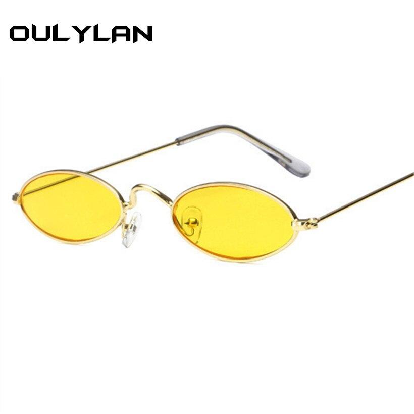 73782b25f Oulylan Pequeno Oval óculos de Sol Das Mulheres Dos Homens de Armação De  Metal Retro Amarelo Vermelho Do Vintage Redondas Minúsculas UV400 Skinny  Masculino ...