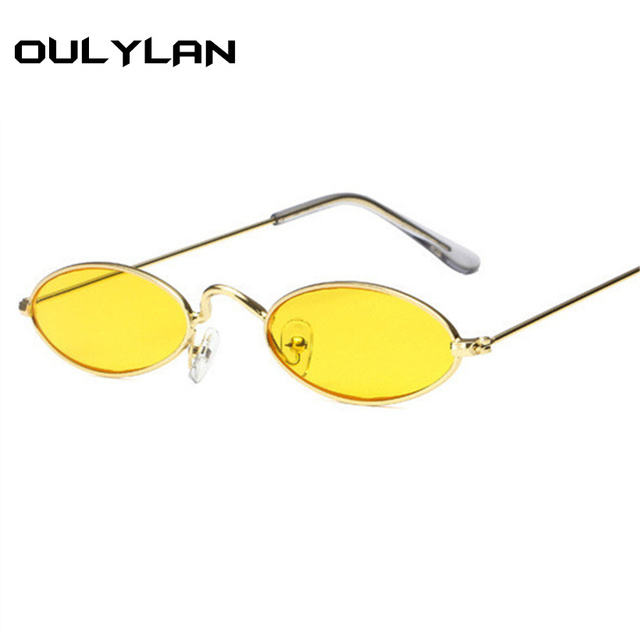 2e1f859a16 Oulylan Small Oval Sunglasses Men Women Retro Metal Frame Yellow Red Vintage  Tiny Round Skinny Male Female Sun Glasses UV400