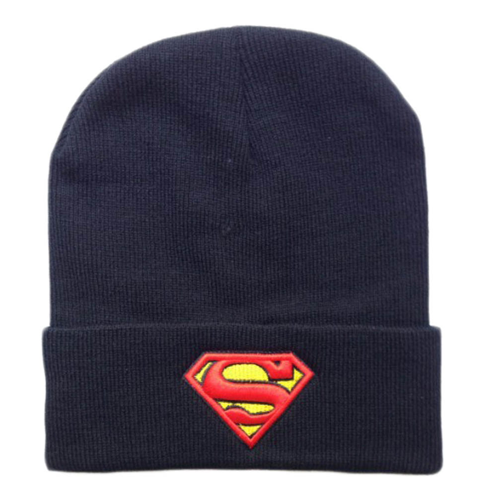 Hot New Fashion Winter Embroidered Beanie Hat Superman Batman Knitted Hat For Women Men Sports Warm Batman Wool cap Hats women s winter beanie hat wool knitted cap shining rhinestone beanie mink fur pompom hats for women