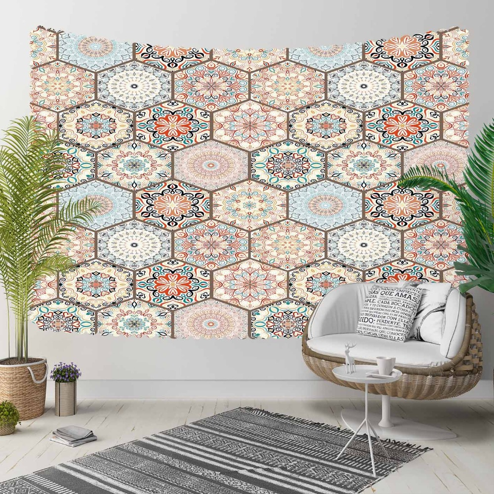 Else Brown Blue Ottoman Vintage Hexagon Patchwork 3D Print Decorative Hippi Bohemian Wall Hanging Landscape Tapestry Wall Art