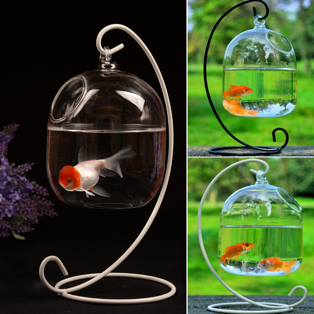 Clear Hanging Glass Aquarium Fishbowl Fish Tank Flower Plant Vase Handmade Decor Hanging Bowl Home Wall Decor without Hanger 5