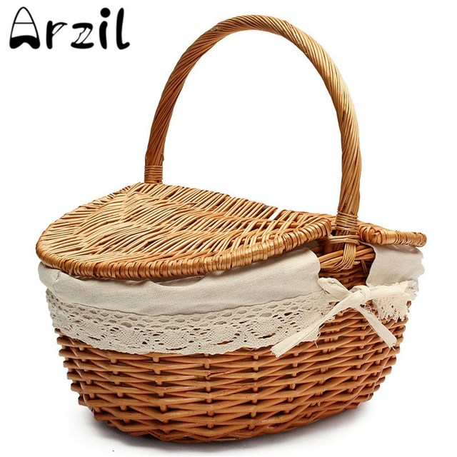 Willow Rattan Picnic Basket Fruit Rattan Storage Food Bread Baskets Woven  Straw Basket Wooden Color Storage
