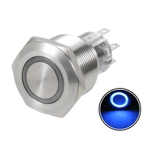 UXCELL Momentary Metal Push Button Switch 22mm Mounting Dia DPDT 2NO 2NC 24V Switch Accessories Red Blue LED Light Silver Tone цена