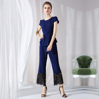 XXXL 4XL 5XL Plus Size Clothing Summer Two Piece Set Tops and Lace Patchwork Pant Suit 2018 Runway Designer Ladies Office Sets
