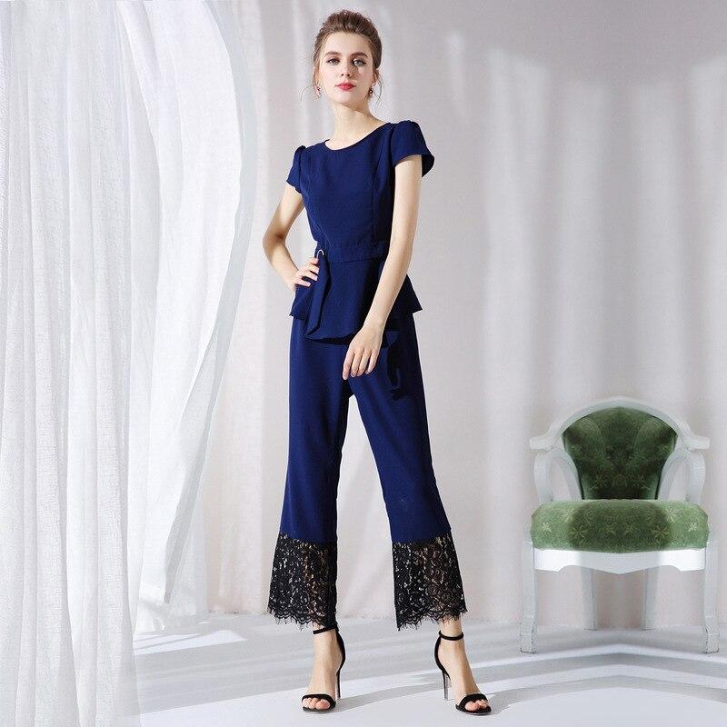 XXXL 4XL 5XL vêtements de grande taille été deux pièces ensemble hauts et dentelle Patchwork pantalon costume 2018 piste Designer dames ensembles de bureau