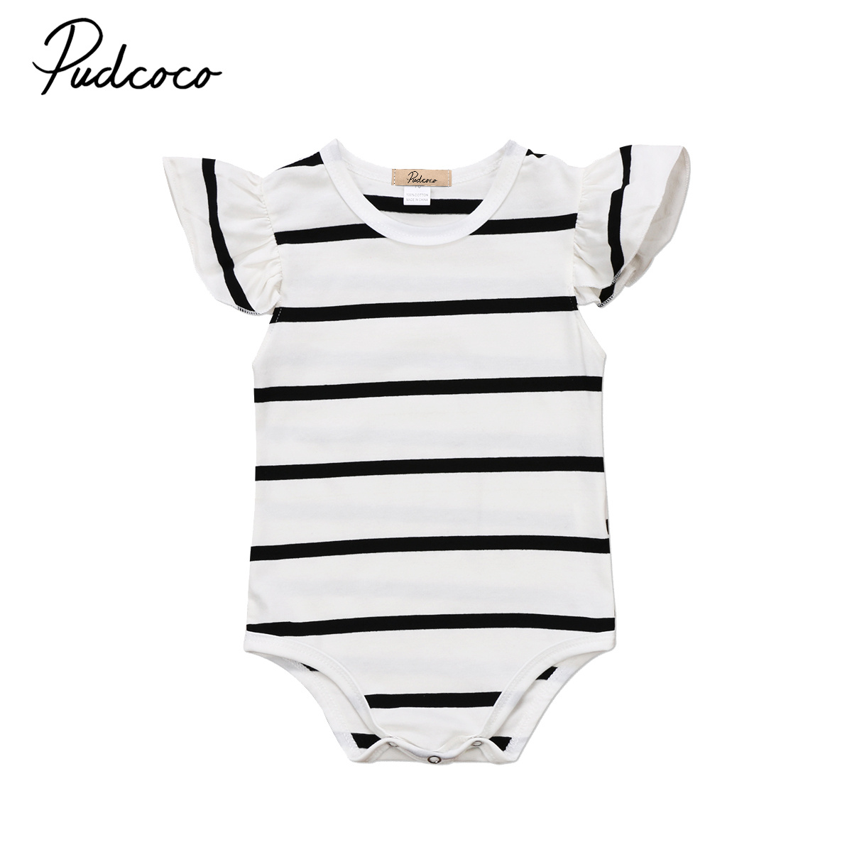 Cute striped baby girs   romper   Newborn Infant Baby Girls raffle shoulder black white   Romper   Jumpsuit baby girl Clothes Outfit