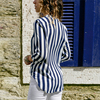 Women Striped Blouse Shirt Long Sleeve Blouse V-neck Shirts Casual Tops Blouse 42