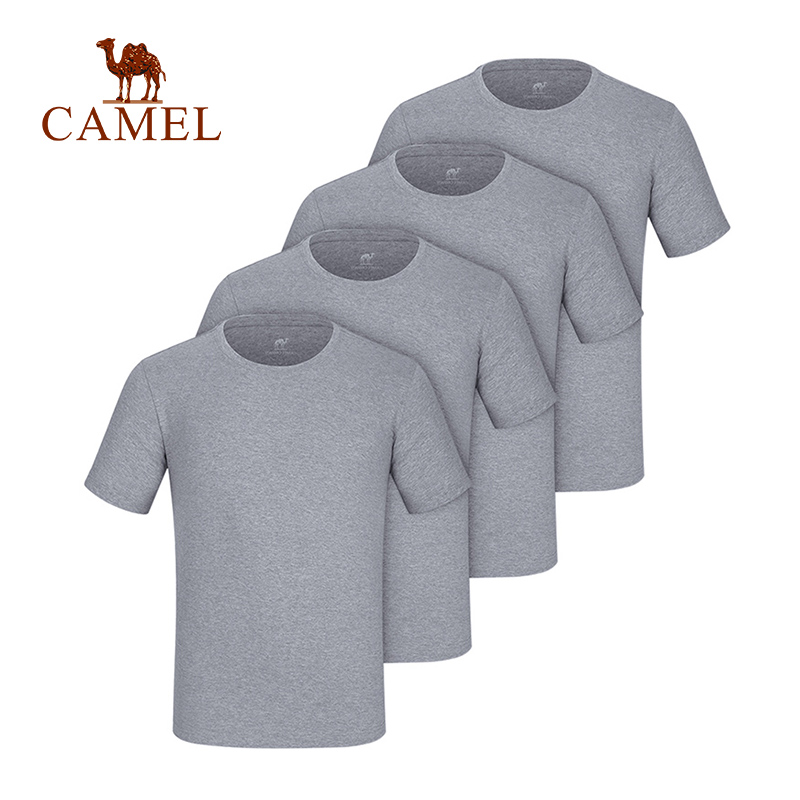 CAMEL 100% Cotton T-Shirts Breathable Men Outdoor Summer Quick Dry High Elastic 2019 O-Neck Large Plus Size