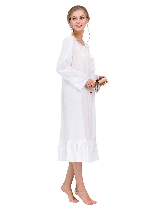 f0769ce5f5 O neck Lace Patchwork Sleep Dress Long Sleeve Women White Nightdress Ruffle  Hem Sleepwear Female Nightgown Elegant Autumn Dress-in Nightgowns    Sleepshirts ...