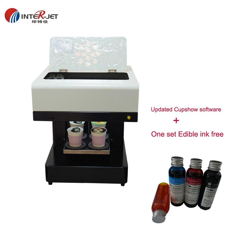 DIY 3D latte art Coffee printer 4 cups coffee print machine Cake Printer ALL-in-One Food printer