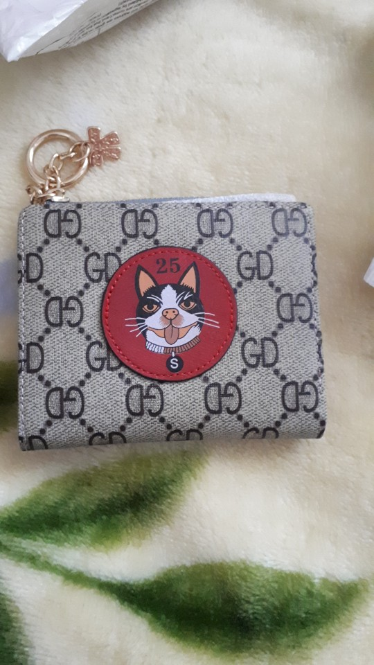 2019 new women's cute simple puppy decoration student short buckle zipper wallet multi-card small lady coin purse photo review