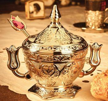 Turecki elegancki miedziorytu prezent vintage Turkish Delight cukru miska z łyżką tanie i dobre opinie Cukru i śmietanki garnki HANDMADE