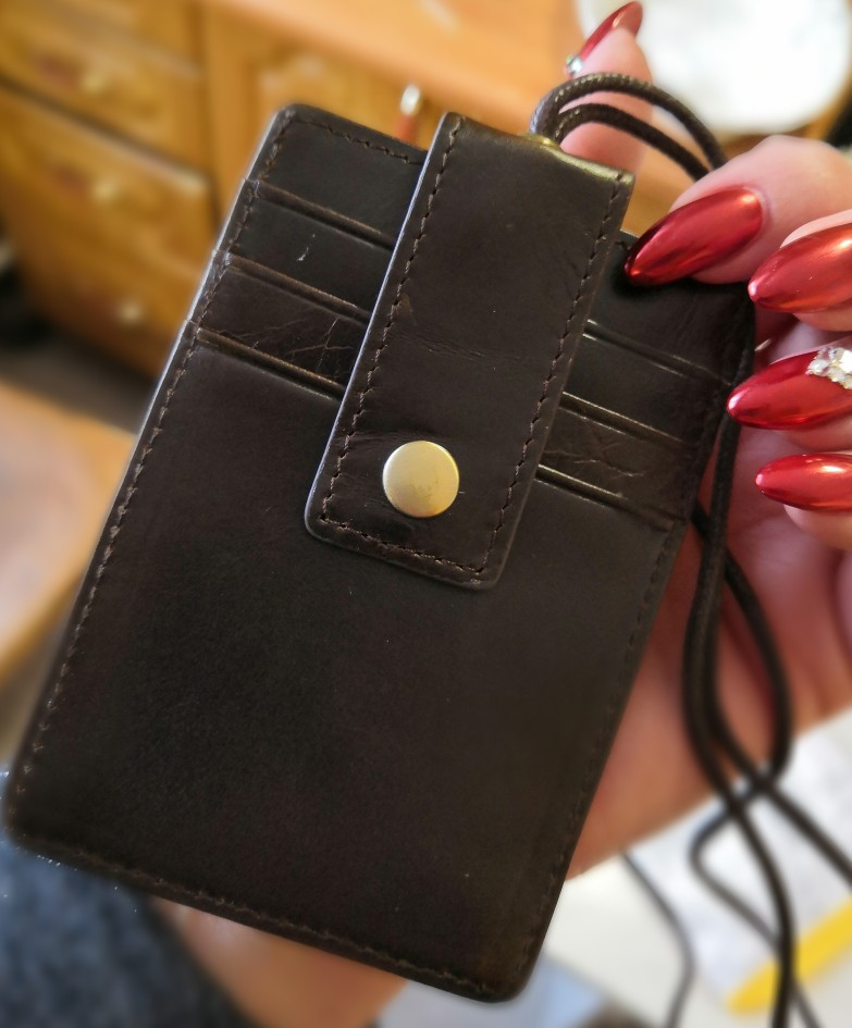 Genuine Leather Id Card Badge Holder with Lanyard RFID Blocking Card Cover for Chest Card Hangtag Work Pass Student Card Holder photo review