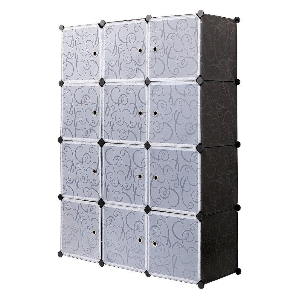 Пластик шкаф для хранения 12 Cube блокировки для одежда полупрозрачные декоративные узоры элегантный черный, белый цвет S15