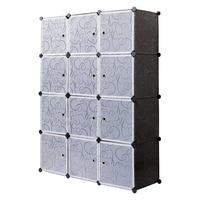 Plastic Wardrobe Cabinet Storage 12 Cube Interlocking For Clothes Translucent Bedroom Furniture Decorative Patterns S15