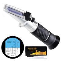 Automotive Refractometer, Ethylene glycol: 60~0°C and 0~100%, Battery Fluid 1.10~1.40kg/l Lightweight Non slip Rubberized Grip