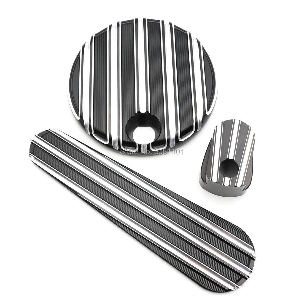 Топливный бак дверь глубокий порез черточки черный анодируйте отделку алюминиевых заготовок для Харлей Дэвидсон 2014 - 2017 FLHX / FLHT / FLTR / FLHTCUTG