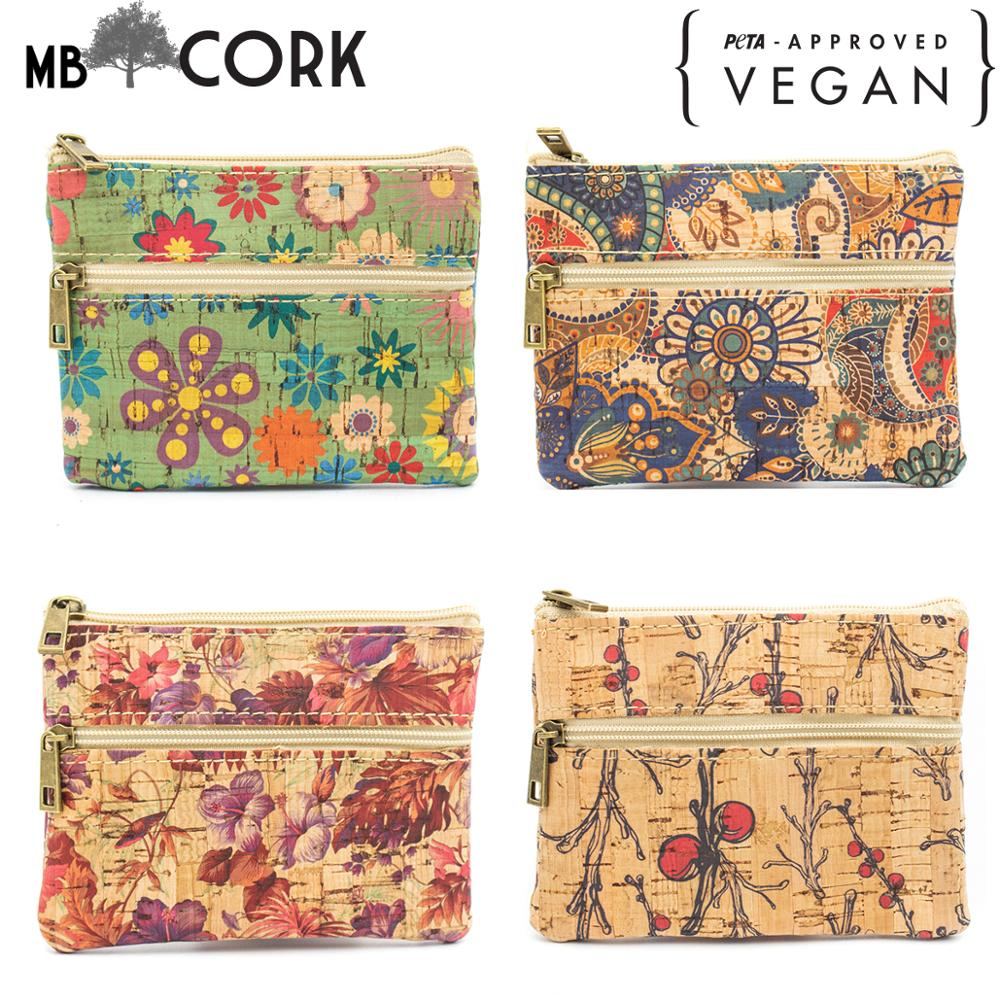 Cork Bags For Women Cork Coin Purse Vegan Purse Natural Soft Cork Printed Fabric Handmade Ladies Small Purse BAG-500