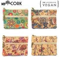 Cork bags for women Cork coin purse vegan purse Natural soft cork printed fabric handmade ladies small purse BAG-500