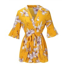 New chic fashion women bohemian style flower printed playsuits female summer beach jumpsuits