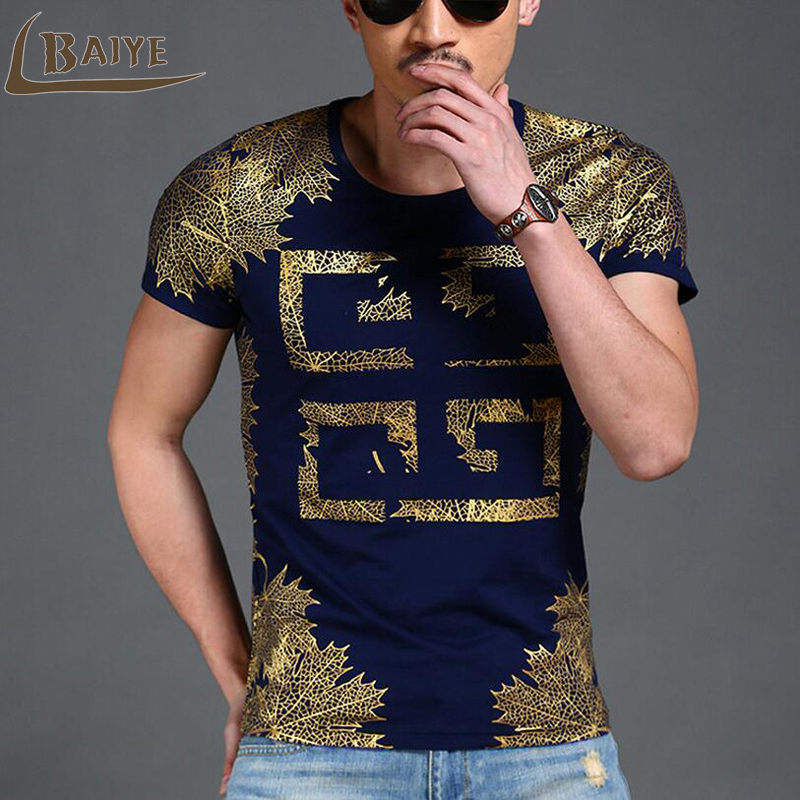 2017 New Men 3D Print T-Shirt Riveted Gold Net Casual Gyms Top Shirt Slim Fit Graphic Tee Men T Shirt Clothing BAIYE
