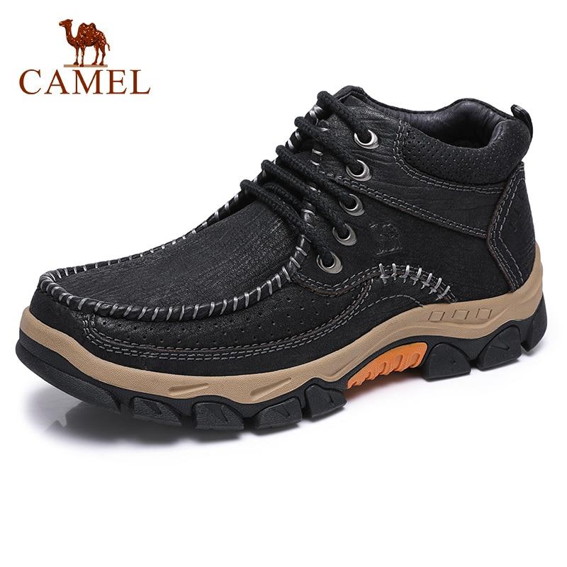 الجمل عارضة جلد الرجال الأحذية في الهواء الطلق الشباب الكاحل قصيرة أزياء الرجل الأحذية عدم الانزلاق مركب جلد البقر حذاء رجالي-في أحذية برقبة أساسية من أحذية على  مجموعة 1