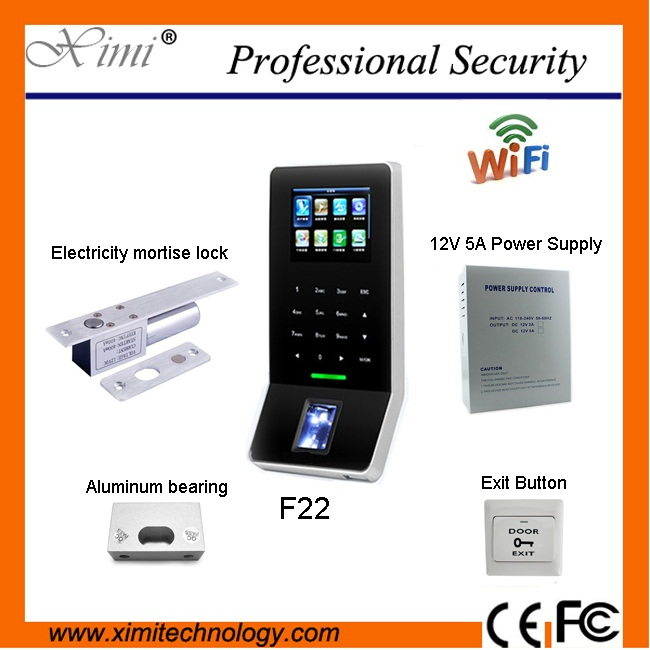 F22 Fingerprint Sensor Connect Emergency Switch Exit Button Wi-Fi Network With Touch Keypad 2.4-inch Fingerprint Access Control