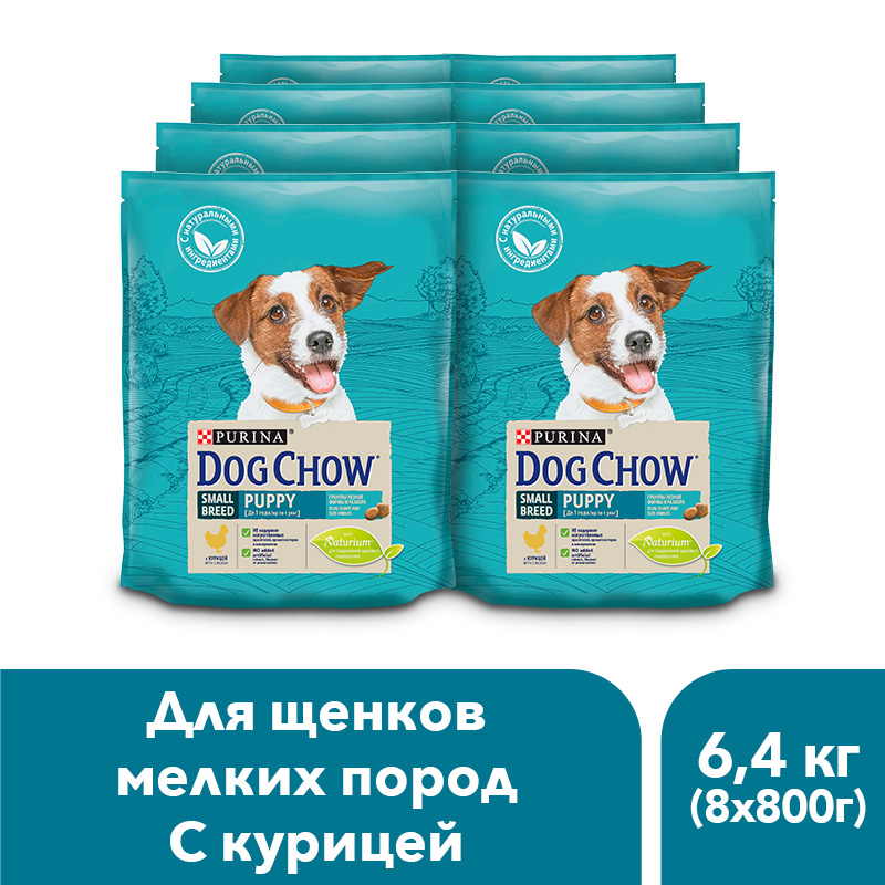 Dog Chow dry food for puppies of small breeds up to 1 year, with chicken, 6.4 kg. dog chow dry food for adult dogs of small breeds up to 1 year with chicken 10 kg