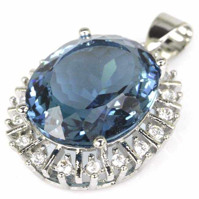 Shecrown Top AAA + 18X15 Mm Oval London Blue Topaz Putih CZ Liontin Perak 28X20 Mm