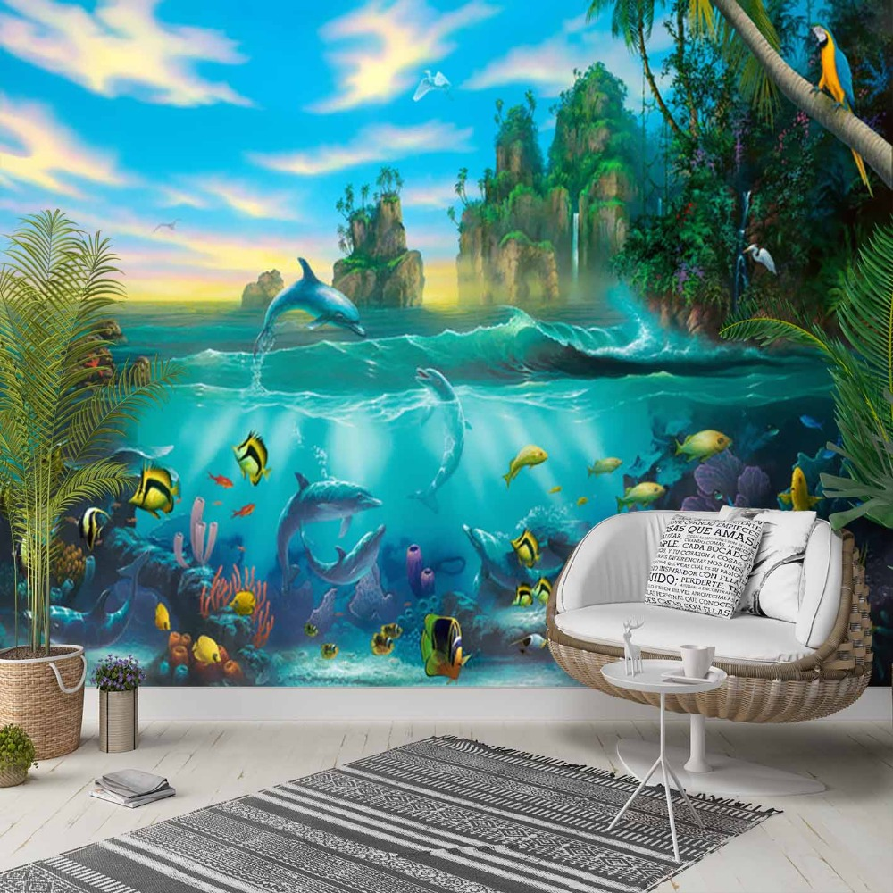 Else Green Island Blue Under Sea Swim Fishes 3d Photo Cleanable Fabric Mural Home Decor Living Room Bedroom Background Wallpaper