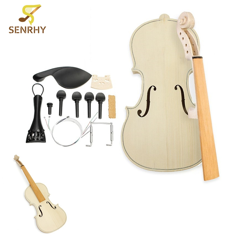 1set 4/4 Size DIY Natural Solid Wood Violin Fiddle Kit with Spruce Top Maple Back Fiddle For Beginner Musical Instruments Lover цены