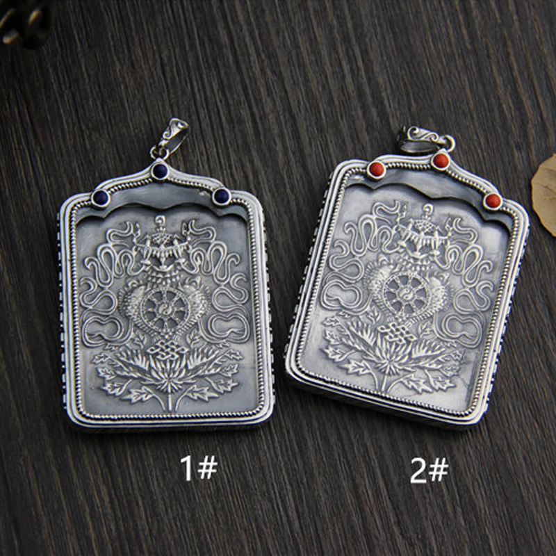 FYLA MODE  Christmas Gift Chinese Tibet Style S925 Sterling Silver Tangka Carved Pendant Thangka Jewelry Gift  XJF066