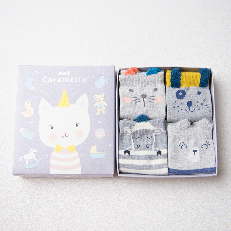 Set of baby socks Kitten-3, 4 pairs baby set of 4 pieces cotton box baby set of 4 pieces