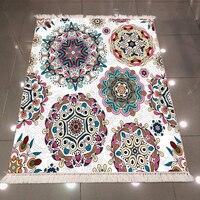 Else White Floor on Ethnic Circle Mandala Design 3d Print Microfiber Anti Slip Back Washable Decorative Kilim Area Rug Carpet