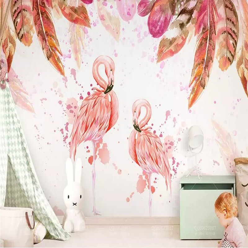 Medieval Hand Drawn Flamingo Pink Watercolor Feather TV Background Wall Manufacturer Wholesale Wallpaper Mural Custom Photo