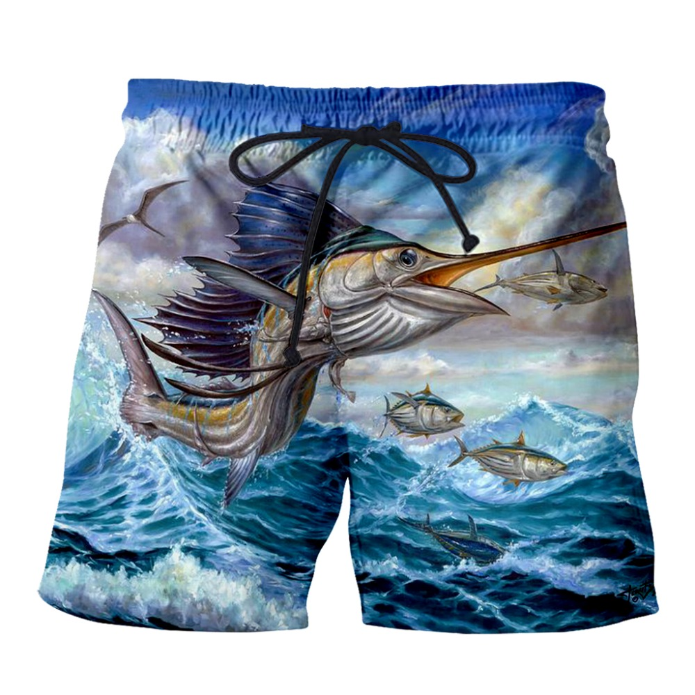 PLstar Cosmos 2019 Summer Mens Casual Fish Shorts Big Jump Blue Marlin With Mahi Mahi 3d Printed Elastic Short Trousers