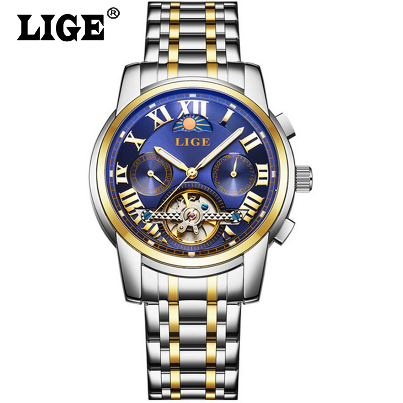 Mens Wristwatch relogio masculino Fashion Sport Watches Men LIGE Tourbillon Top Brand Luxury Automatic Mechanical Watch mens watches top brand luxury lige 2017 men watch sport tourbillon automatic mechanical leather wristwatch relogio masculino